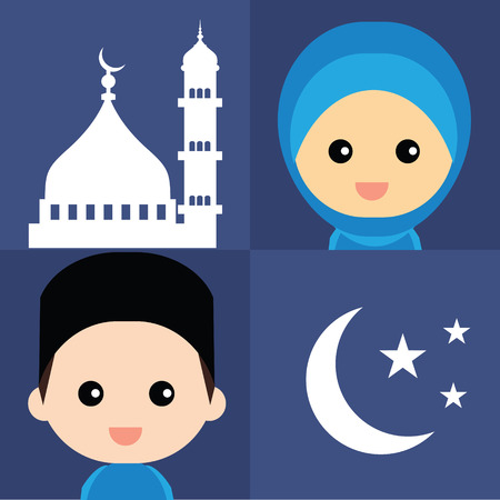 ramzaan: Set of cute Muslim character and elements