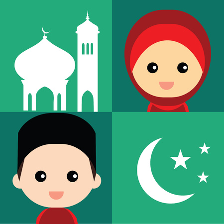 Set of cute Muslim character and elements