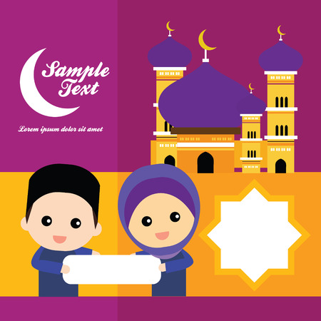 cute Muslim characters and beautiful mosque Vector