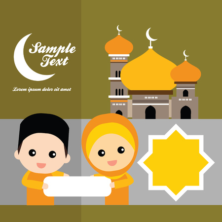 ramzaan: cute Muslim characters and beautiful mosque Illustration