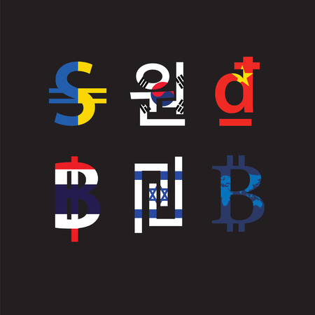 foreign currency: Set of currency symbols with flag