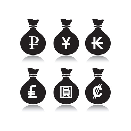 kip: Set of money bags with currency symbol