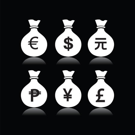 currency symbol: Set of money bags with currency symbol