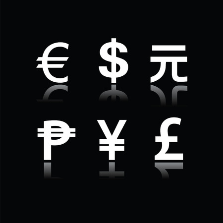 Set of currency symbols Vector
