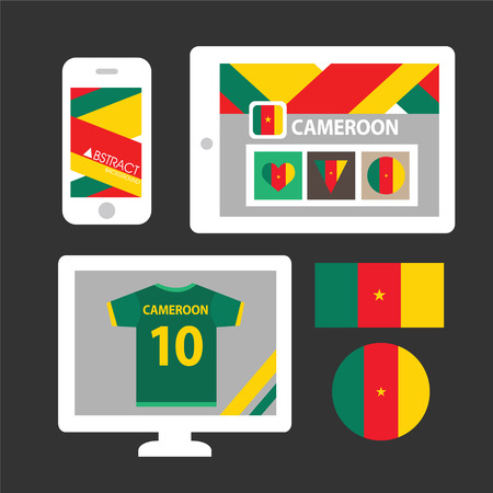 cameroon: Set of Cameroon flag