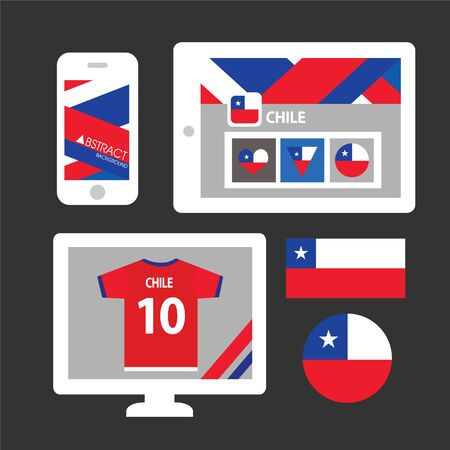 chile: Set of Chile flag