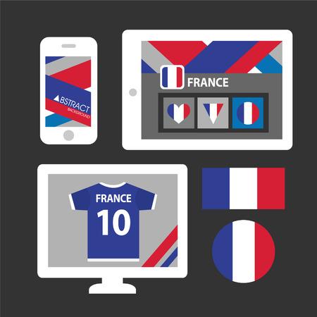 Set of France flag Vector