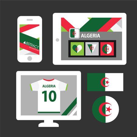 algeria: Set of Algeria flag