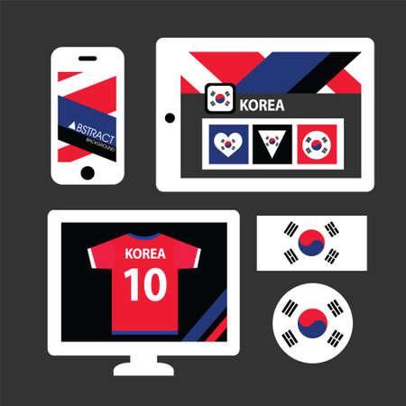 korea flag: Set of Korea flag