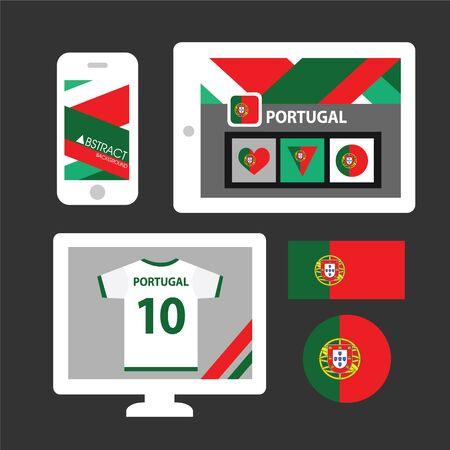 iberian: Set of Portugal flag Illustration