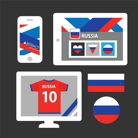 Set of Russia flag Vector