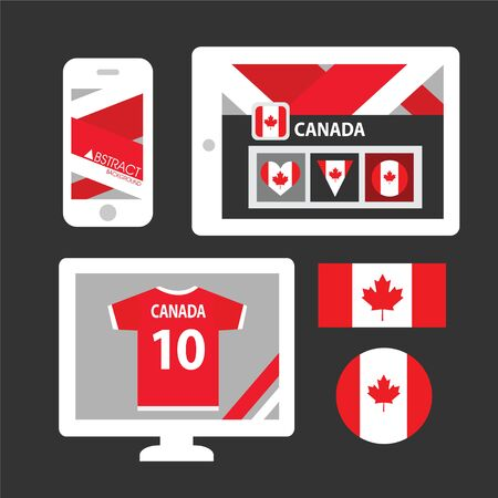 canadian football: Set of Canada flag Illustration