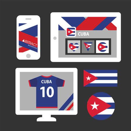 bandera cuba: Conjunto de la bandera de Cuba Vectores
