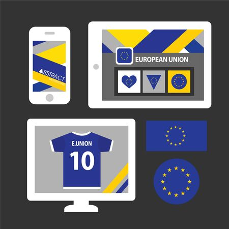 european: Set of European Union flag