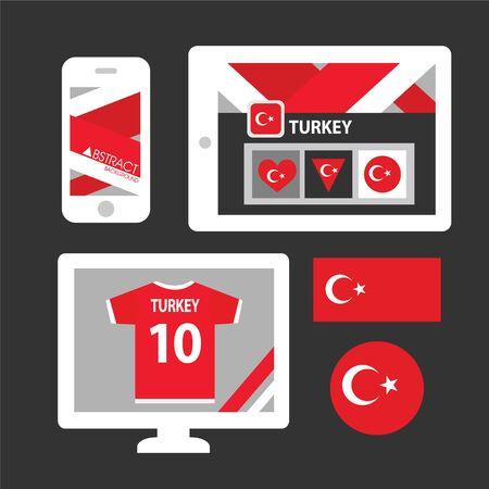 turkey flag: Set of Turkey flag