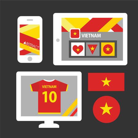 Set of Vietnam flag Vector