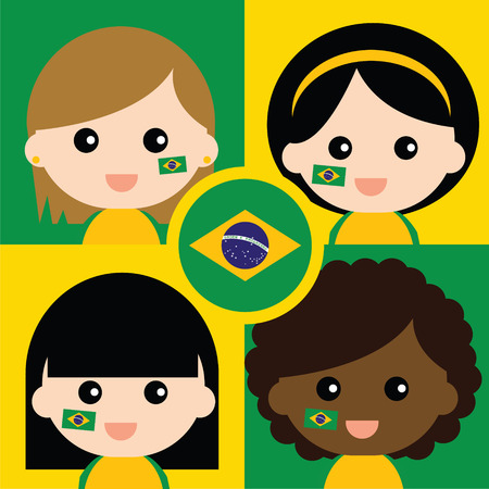 supporters: Group of happy Brazils supporters Illustration