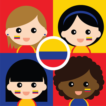 supporters: Group of happy Columbias supporters Illustration