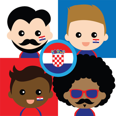 supporters: Group of happy Croatias supporters Illustration