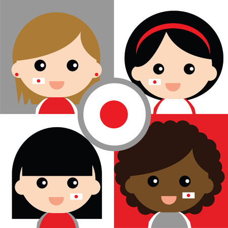 supporters: Group of happy Japans supporters Illustration