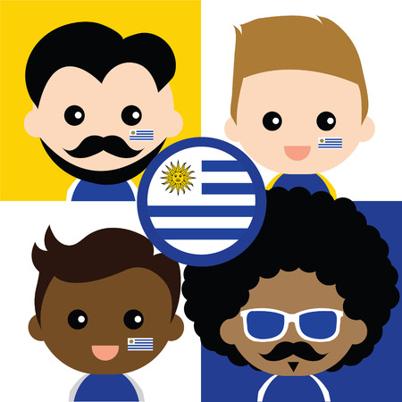 Group of happy Uruguay\ Vector