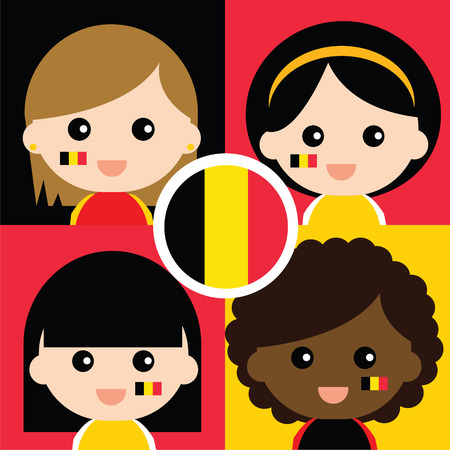 supporters: Group of happy Belgiums supporters Illustration