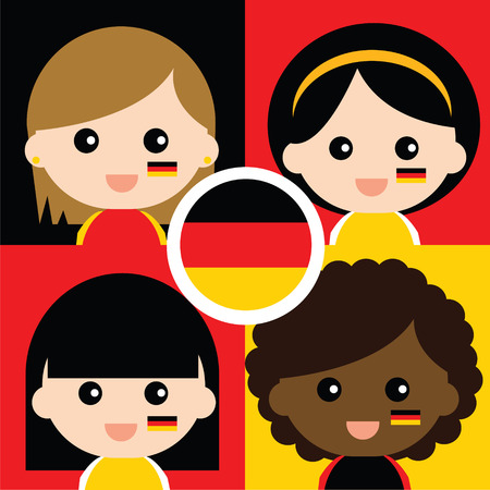 Group of happy Germanys supporters Vector