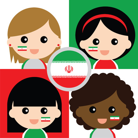 supporters: Group of happy Irans supporters Illustration