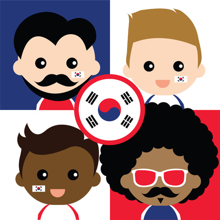 supporters: Group of happy Koreas supporters Illustration