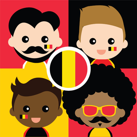 Group of happy Belgiums supporters Vector