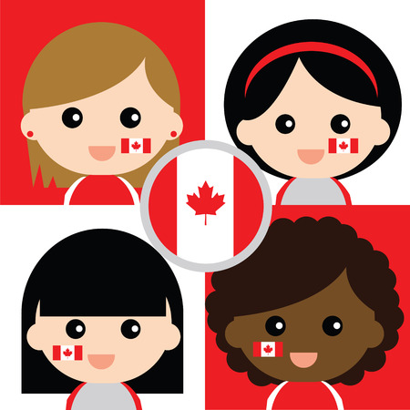 Group of happy Canadas supporters Vector