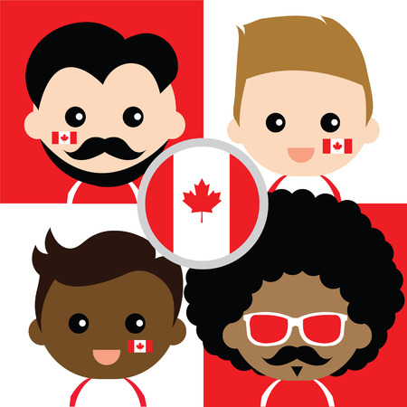 supporters: Group of happy Canadas supporters Illustration