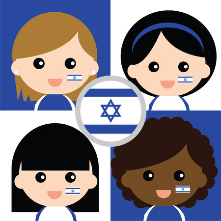 supporters: Group of happy Israels supporters Illustration