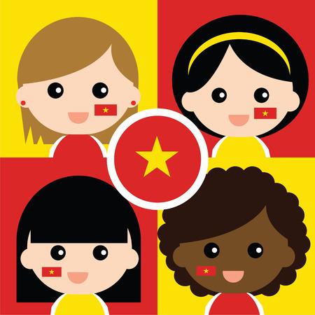Group of happy Vietnam\ Vector