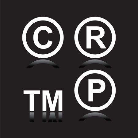 conventions: Set of infringement symbols in black background