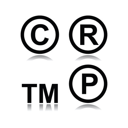 Set van inbreuk symbolen op witte achtergrond