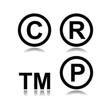 Set of infringement symbols in white background