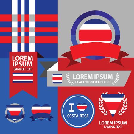 bandera de costa rica: Conjunto de Costa Rica bandera, el emblema y el patrón de fondo. Vectores
