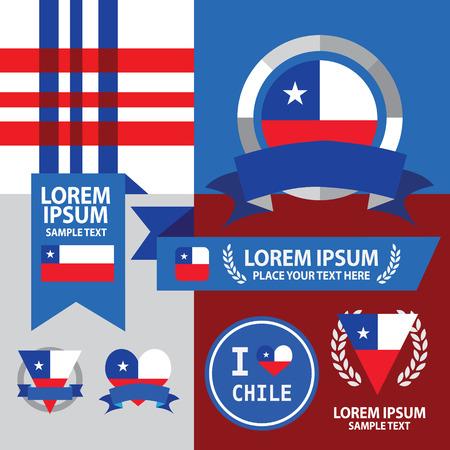 chile flag: Set of Chile flag, emblem and pattern background.