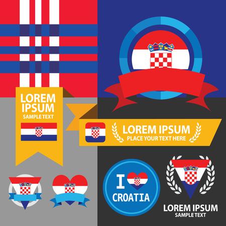 bandera croacia: Conjunto de la bandera de Croacia, emblema y patrón de fondo.