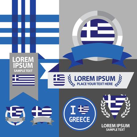 Set von Griechenland-Flagge, Emblem und Muster.