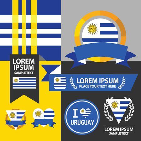 bandera de uruguay: Conjunto de la bandera de Uruguay, emblema y patr�n de fondo.