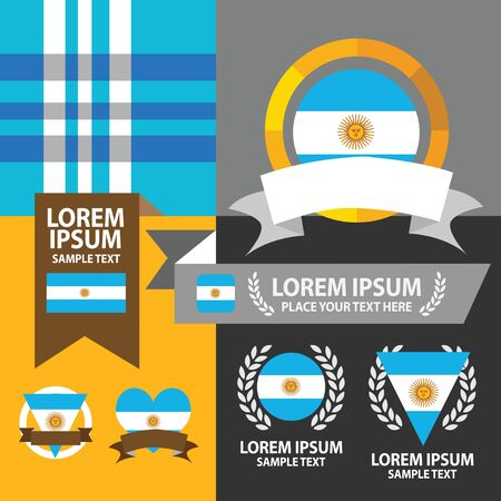 argentina flag: Set of Argentina flag, emblem and pattern background.