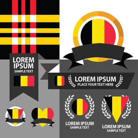 Set of Belgium flag, emblem and pattern background. Vector