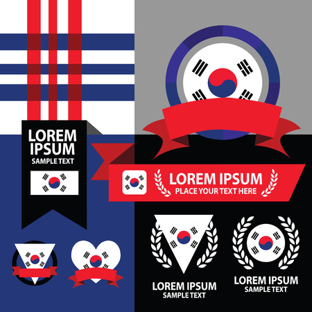 Set of Korea flag, emblem and pattern background. Vector