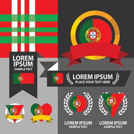 iberian: Set of Portugal flag, emblem and pattern background. Illustration