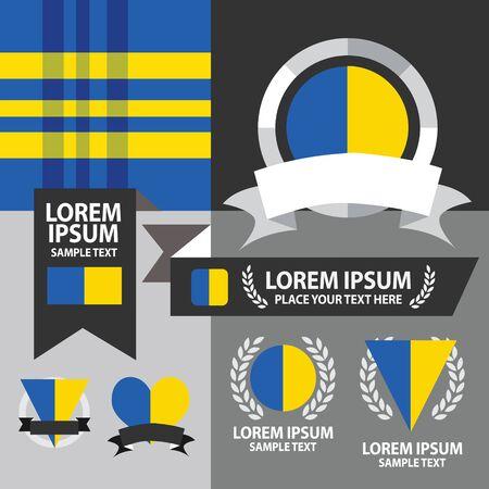 emblem of ukraine: Set of Ukraine flag, emblem and pattern background.