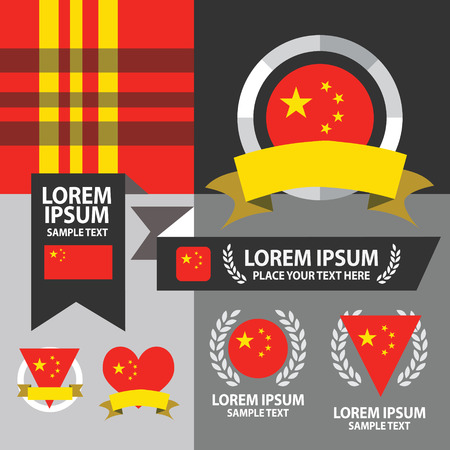 Set of China flag, emblem and pattern background. Vector
