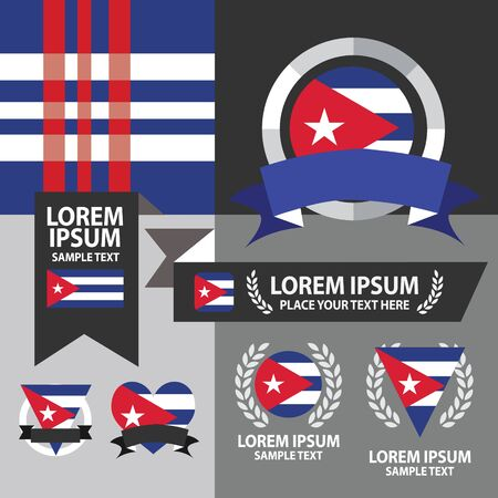 havana cuba: Set of Cuba flag, emblem and pattern background. Illustration