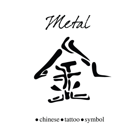 Chinese character calligraphy for metal